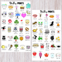 Monthly Holiday Stickers, Monthly Funny Stickers, Interesing Holiday Stickers, Planner Stickers, Weird Holiday Stickers (#0164)