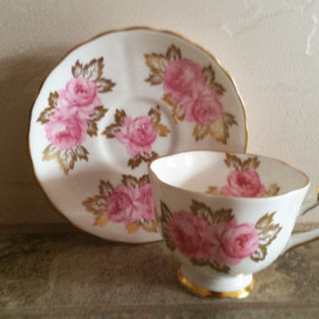 Royal Chelsea Pink Rose Fine China England Teacup and Saucer
