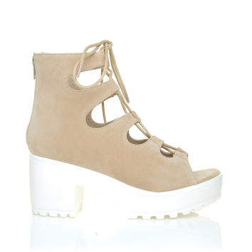LILLY Nude Suede Lace Up Peep Toe Chunky Sole Gladiator Sandals