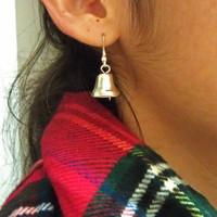 Tiny Silver Bell Dangle Earrings - Noiseless, Hypoallergenic and Ready to Ship for Christmas