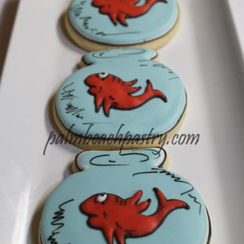 Cat in the Hat Inspired FISH BOWL  Whimsical BABY Shower Decorated Sugar Cookie favors 1 Dozen (12)
