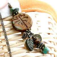 Dragonfly necklace, Earthy colored Necklace, Rustic Dragonfly Pendant, Woodland Necklace, Dragonfly jewelry, Pine charm