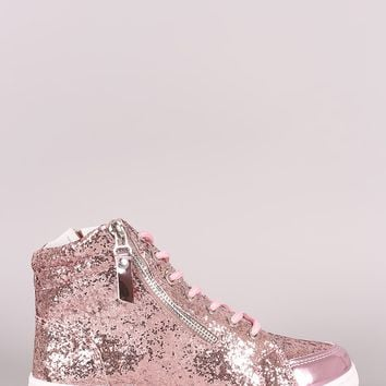Zipper Accent Glitter Lace Up High Top Sneaker