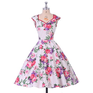 Short Prom Dresses 2016 Flower Pattern Vintage Retro Rockabilly Party Dresses Grace Karin Ball GownV Neck Sexy Prom Dress