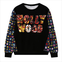 Black Hollywood Patch with Cartoon Print Sweatshirt