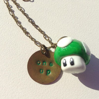 Cute 1Up Mushroom Polymer Clay Pendant