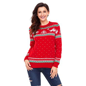 Chicloth Red Christmas Reindeer Knit Sweater Winter Jumper
