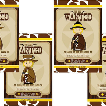 Wild West Cartoon Cowboy Cowgirls Birthday Party Invitation - Digital Printable Western Invite 4 Options Available