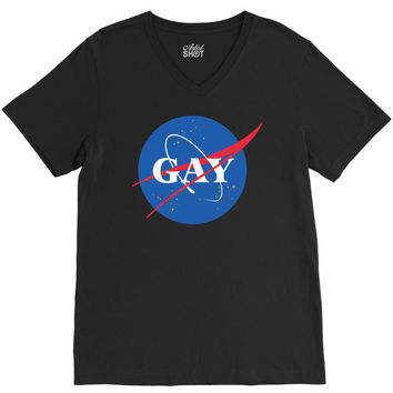 Nasa Gay Pride V-Neck Tee