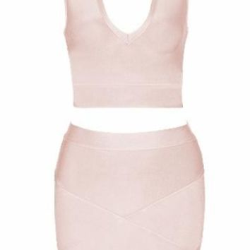 Taking Control Beige Sleeveless Mock Neck Plunge V Neck Crop Tulip Two Piece Bodycon Bandage Mini Dress