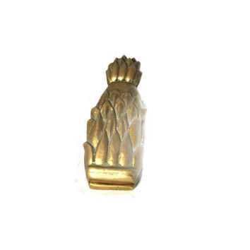 Vintage Brass Pineapple Paper Clip Office Accessory Pineapple Letter Holder Desk Organizer, Solid Brass Made in Taiwan