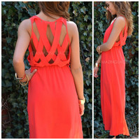 Jasmine Bay Red Lattice Back Maxi Dress