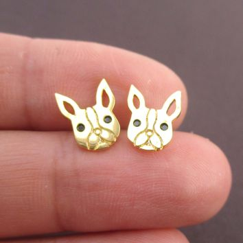 French Bulldog Frenchie Face Shaped Stud Earrings in Gold