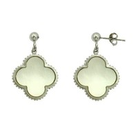 Sterling Silver Mother of Pearl Clover Earrings
