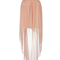 Peach Metallic Chiffon Mixi Skirt - Clothing - desireclothing.co.uk