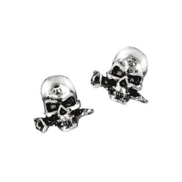 Alchemy Gothic Alchemist Skull with a Rose Earrings