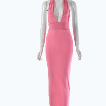 Halter-necked V-neck halter fashion tight-fitting openwork dress Pink