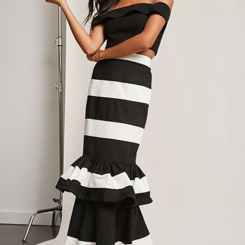 Striped Drop-Waist Skirt
