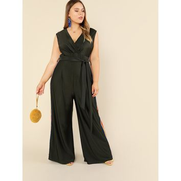 Plus Size Army Green Knot Waist Striped Side Jumpsuit