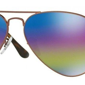 Ray Ban Aviator Sunglasses, Metallic Dark Bronze with Rainbow 2 Mirrored Lenses RB 302