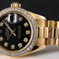 ROLEX - Ladies 18kt Gold DIAMOND President Black Diamond Dial -179138 SANT BLANC
