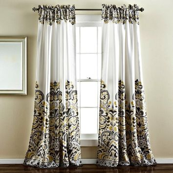 Sirina Boho Moroccan Paisley Gray Floral Window Curtain Panel SET
