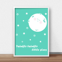 Nursery Print, Mint Nursery Wall Art Print, Digital Nursery Art,  Kids Wall Print, Moon And Stars Art, Mint Decor, Twinkle Twinkle Art Print