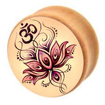 Yoga Body Jewelry Om Symbol Flower Logo Wood Ear Expansions Stretcher Gauge 6-16mm Piercing Plugs and Tunnels