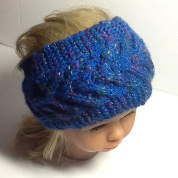 Chevron Cable Knit Headband, blue flecked ear warmers with soft grey fleece lining, warm winter head wrap