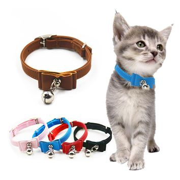Puppy Dogs Cat Collar Kitten Pet Safety Bow Tie Bell Collars Little Cats Neck 6 Colors Nice Velvet Bowtie Pet Dogs Cats Supplier