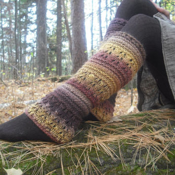 Autumn Pixie Leg Warmers Wool Leg Warmers Woodland Hand Knitted Ready To Ship