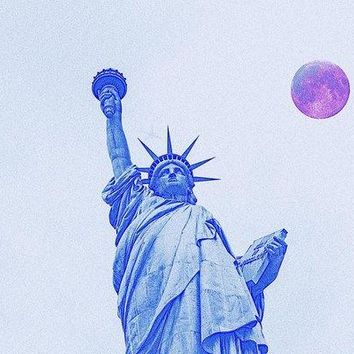 The Fool Blood Moon And The Lady Liberty  2 - Art Print