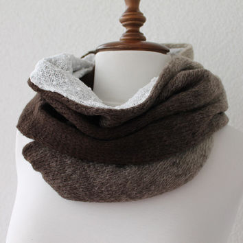 Beige and Brown Chunky Scarf, Infinity Scarf, Loop Scarf, Neckwarmer, Cowl Scarf