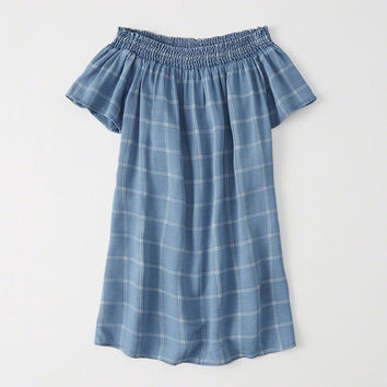 Womens Off-The-Shoulder Shift Dress | Womens Dresses & Rompers | Abercrombie.com