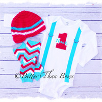 BOYS FIRST BIRTHDAY Outfit-Chevron Birthday Party-Aqua and Red Birthday Set-Birthday Bodysuit with Beanie and Warmers