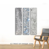 Large metal Abstract Paintings / CUSTOM Art / 3 panel ( 48 inch x 10 inch) / AcryliCrete /concrete / Blue, white Steel, silver, Iron