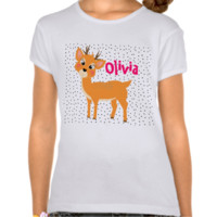 Fun Festive Cute Cartoon Reindeer And Spots Tees