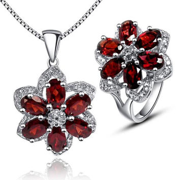 Luxurious red garnet jewelry sets 100% natural red garnet 925 solid sterling silver ring necklace pendant sets fashion girl gift