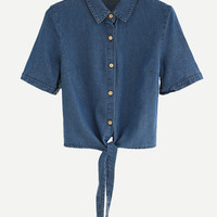 Blue Knotted Denim Blouse