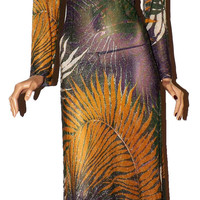 Vintage Metallic/Lurex Stunning Maxi Dress Gown. Botanical Fern Print. Medium
