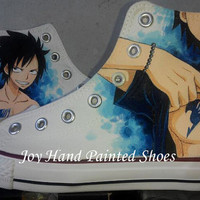 Fairy Tail Shoes Fairy Tail Anime Hand Painted Shoes Custom Anime Converse Shoes custom canvas shoes