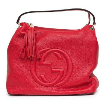 CREYIX5 Gucci Soho Flame Red Leather Bag Soft Hobo Italy Handbag New