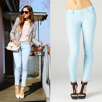 NWT SKY LIGHT BABY BLUE PASTEL STRETCH Skinny Pencil COLOR Jeans Denim Pants
