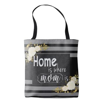 Black and white stripes floral tote