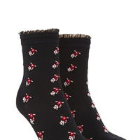 Ruffled Floral-Patterned Socks