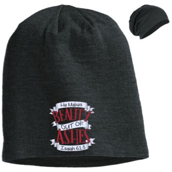 He Makes Beauty Out Of Ashes Slouch Beanie