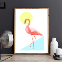 Watercolor flamingo print, flamingo poster, flamingo wall art, flamingo printable, summer print, tropical print, animal print, nursery print