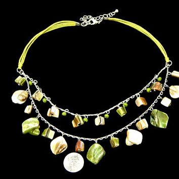 Mother of Pearl Necklace Two Strand Dangle Nuggets in Green White and Brown