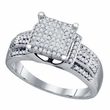 10kt White Gold Women's Round Diamond Square Cluster Bridal Wedding Engagement Ring 3-8 Cttw - FREE Shipping (USA/CAN)