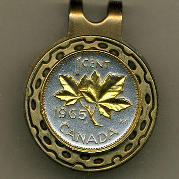 Gorgeous 2-Toned  Gold on Silver Canadian  Maple leaf  - Coin - Golf Ball Marker - Hat Clips